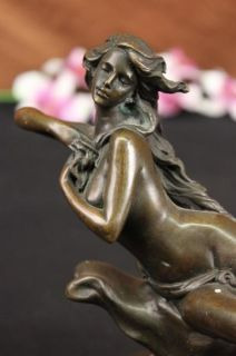 Art Nouveau Nude Lady Bronze Statue Sculpture Figurine Art Figure