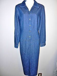 CHADWICKS CHADWICKS WOMENS LADIES DENIM JEAN CASUAL FALL SHIRT DRESS