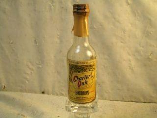 Vtg Miniature Charter Oak Bourbon Whiskey Bottle SEALED Tax Stamp 4 3