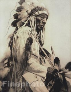 Vintage NATIVE AMERICAN INDIAN Cheyenne Chief Photo Art, EDWARD CURTIS
