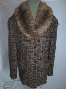 CHARLES GRAY M L NWOT BROWN Tweed Jacket Top Faux Fur Collar EXCELLENT