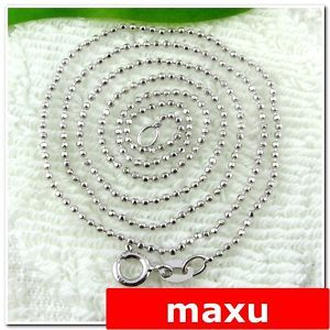 Sterling Silver Ball Chain Italy Design Jewelry Necklace 1mm