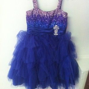 PERFECT ANGEL Girls Short Party Pageant Dress Sz 14 Royal Blue