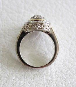 Charles Krypell Sterling Silver 18K Gold Cushion Shape Diamond Ring