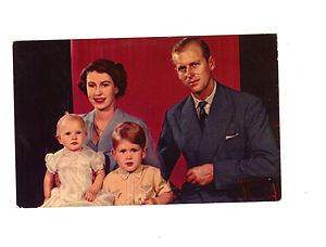 Elizabeth II Princess Anne Prince Philip Charles postcard Royal Family