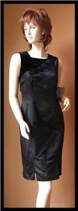 Vera Wang Lavender Label Black Satin Silk Velvet Trim Sleeveless Dress