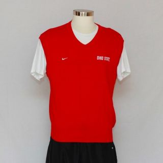 Nike Red Sleeveless Knitted Pullover Vest with Embroidery Ohio State