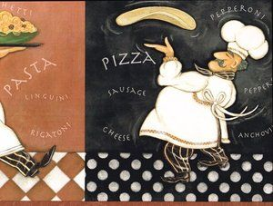 Whimsical Italian Chefs Kitchen Wallpaper Border