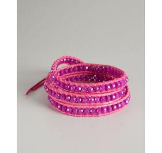 chan luu fuchsia leather wrap bracelet  price $ 98