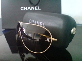 Chanel Ladies Designer Aviator Sunglasses with Swarovski Crystal Case