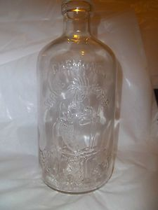Vintage Chemung Spring Water Glass Bottle with Indian Embossed on It