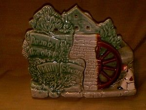 Vintage McCoy Pottery Old Mill Planter Gray Green Down by The Old Mill