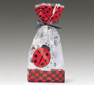 20 Large Ladybug Cello Treat Goodie Bags Party Favors