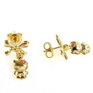 Bow Gold 18K GF Bracelet Charm Kitten Kids Girl Earrings Dangle