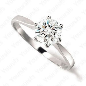 Charm 18K Whited Gold Plated 1Carat Crystal Diamond Wedding Ring Size8