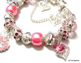 Pink Hearts Childrens Child Girls Charm Bead European Bracelet