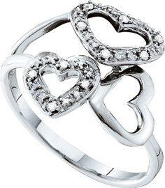 10K White Gold 3 Heart Open Center Diamond Ring WG Unique Womens New