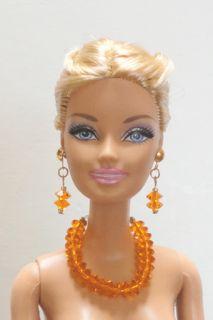 Gold Barbie Doll Necklace Earrings Set w Swarovski Pumpkin Orange