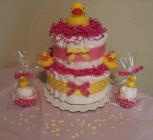 DUCK diaper cake baby shower centerpiece decoration gift for girl