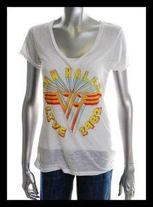 Chaser LA Vintage Tee VAN HALEN 1982 Rock Concert T Shirt White Urban