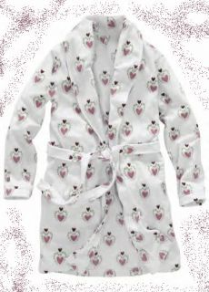 PINK SWEET HEARTS FUZZY FLEECE ROBE L NEW VALENTINES DAY GIFT