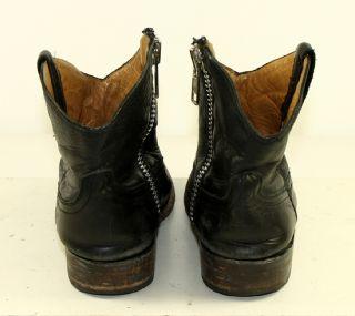 Chavez Brand Black Leather Vtg Western Fashion Ankle Zipper Womens
