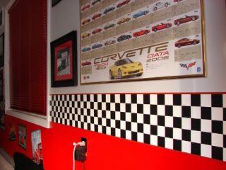 New Checkered Flag Cars Nascar Wallpaper Border 9 Inch Red Edge