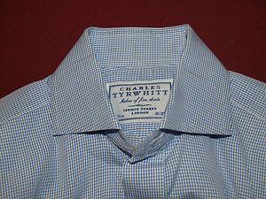 Charles Tyrwhitt Blue Check Spread Collar F/C Shirt 15/35 $140