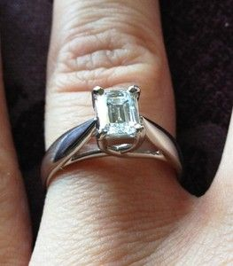 EMERALD CUT PLAT ENGAGEMENT RING BEAUTIFUL CROWN SET CERTIFIED E SI1