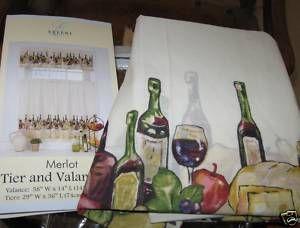 3p ELLERY CHEF Valance Kitchen Curtains Set MERLOT WINE FRUIT BOTTLES