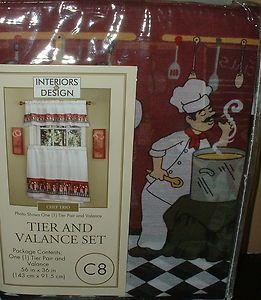 FAT CHEF BISTRO KITCHEN CURTAINS WINDOW TIERS VALANCE SET WINE ITALIAN