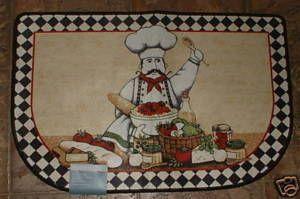 Fat Chef Bistro Kitchen Rug Floor Mat Checks Pasta New