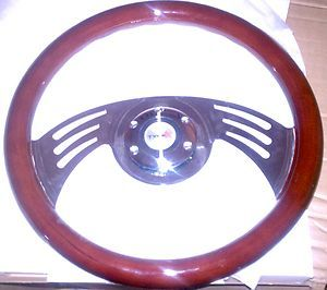Wood Steering Wheel w Billet Chevrolet Adapter Lowrider