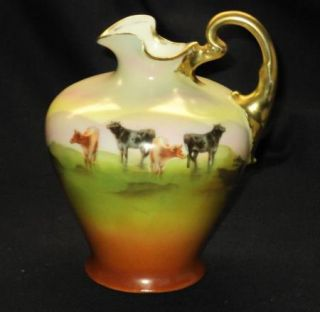 Royal Bayreuth Black Brown Cow Field Syrup Jug Exquisite Handle