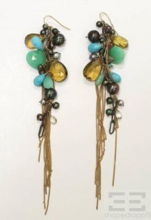 Pearl Turquoise Chrysoprase Citrine Gold Chain Dangle Earrings