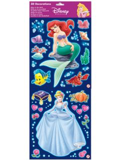 Disney Princess 3D Glow In The Dark Self Adhesive Wall Stickers