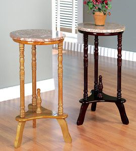 Cherry Oak Marble Top Wood Round Stand Side Table