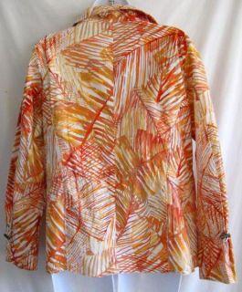 Sz 1 8/10 CHICOS Jacket Citrus & White Palm Leaf Print Zip Front