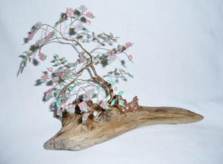 Pink Jadeite Copper Cherry Blossom Bonsai Tree on Driftwood Kitsch