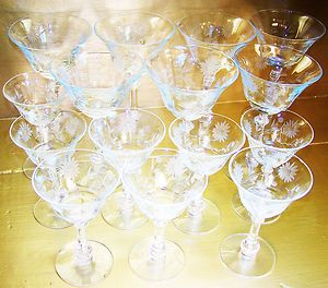 Crystal Champagne Wine Glasses Goblets Sherberts 2 Sizes Lot 15 Glass