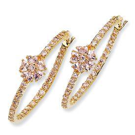 Cheryl M Sterling Silver Pink CZ Floral Hoop Earrings