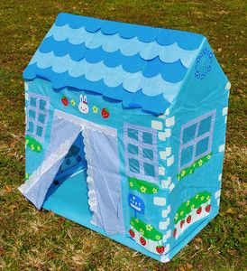 Blue Kids Play House Tent Kid Girls Childrens Toys