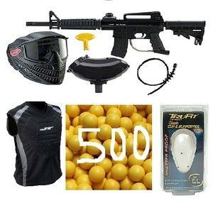JT Paintball Kit Cup JT Chest Protector 500 paintballs Mask Barrel