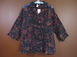 NWT COLDWATER CREEK Women Rayon Nylon Blend Blouse Black Red Floral Sz