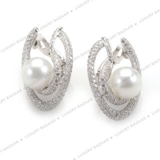 Chanel 18K White Gold Diamond and Pearl Earrings