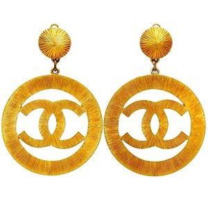 Authentic Vintage Chanel Earrings Big CC Logo Hoop Dangle Lady Gaga