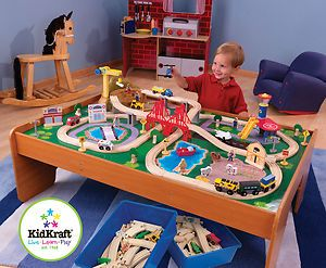 Ride Around Town Train Set Table Childrens KidKraft 100 PC Wooden Set
