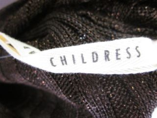 Childress Brown Shimmer Lurex Ribbed Hoodie Sweater 2