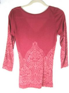 Language Los Angeles Anthropologie Red Sequin 3 4 Sleeve V Neck Shirt