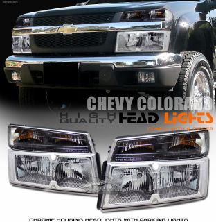 Chevy Colorado GMC Canyon Chrome Clear Lens Headlights Parking Lights